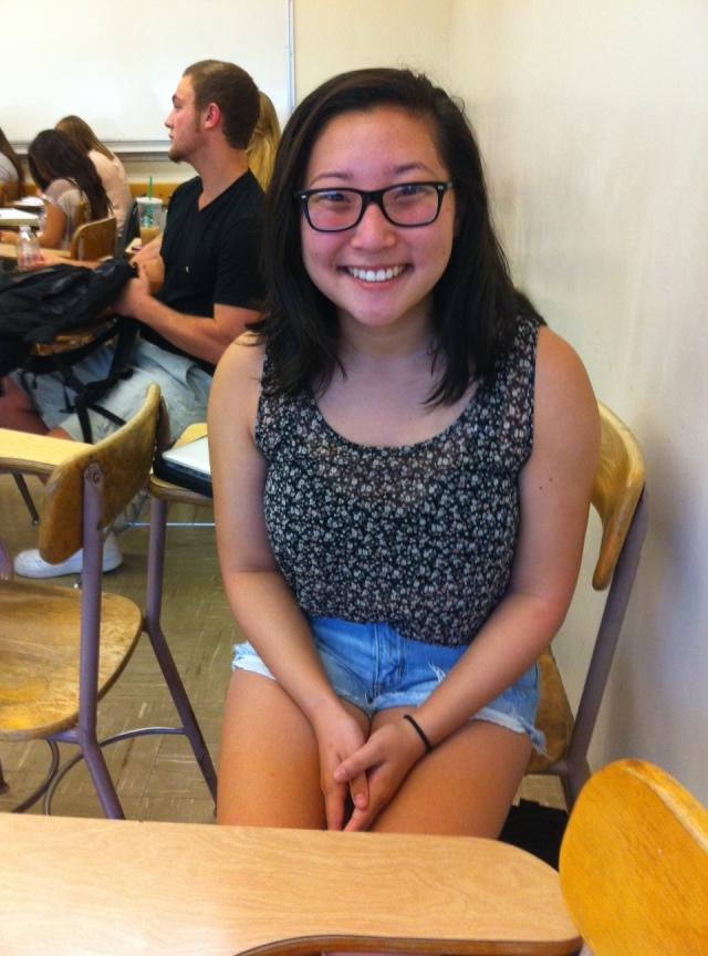 Photo of Nicole Hayashida during her Women and Gender studies class taken by Lauren Piraro with permission